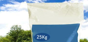 25 kg Dairy Milk Powder bag with green grass, trees field, white clouds and blue sky