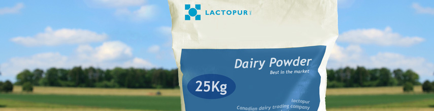 Lactopur 25kg Dairy Milk Powder bag with green trees field and blue sky